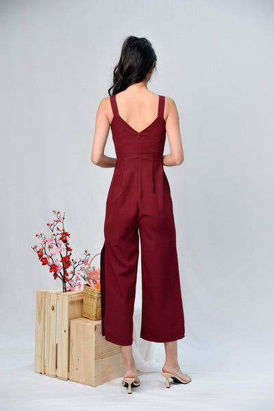 AWE One Piece KATHLEEN WINE SIDE-SLIT JUMPSUIT