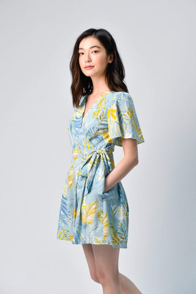 AWE One Piece LILO BLUE FOLIAGE SLEEVED ROMPER