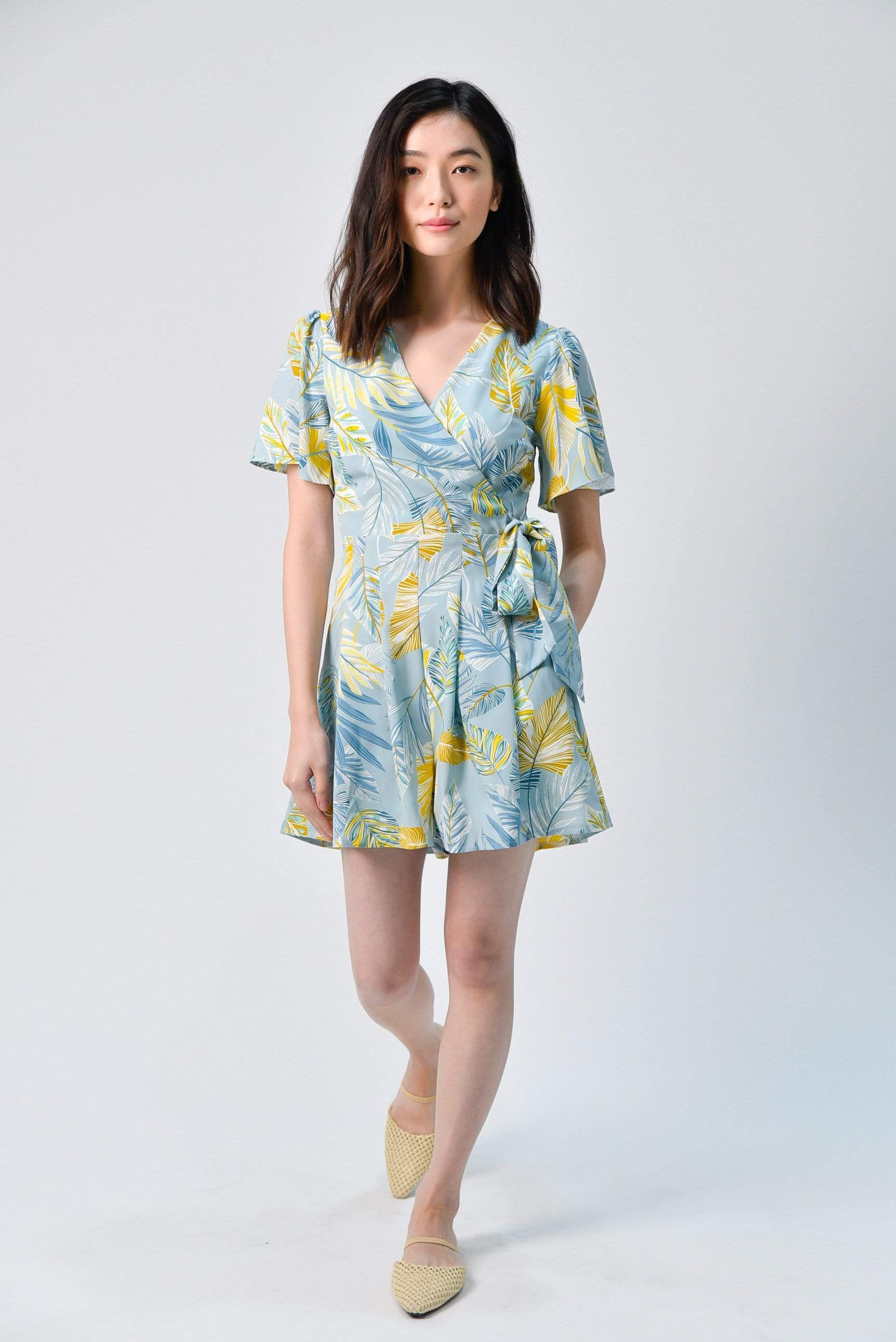 LILO BLUE FOLIAGE SLEEVED ROMPER