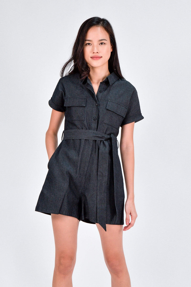SKYA DENIM UTILITY ROMPER IN BLACK