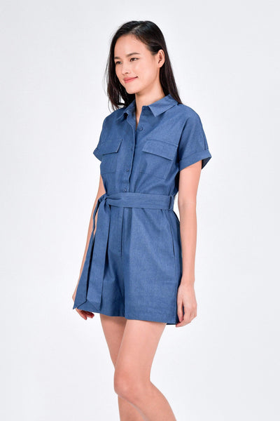 AWE One Piece SKYA DENIM UTILITY ROMPER IN MID WASH