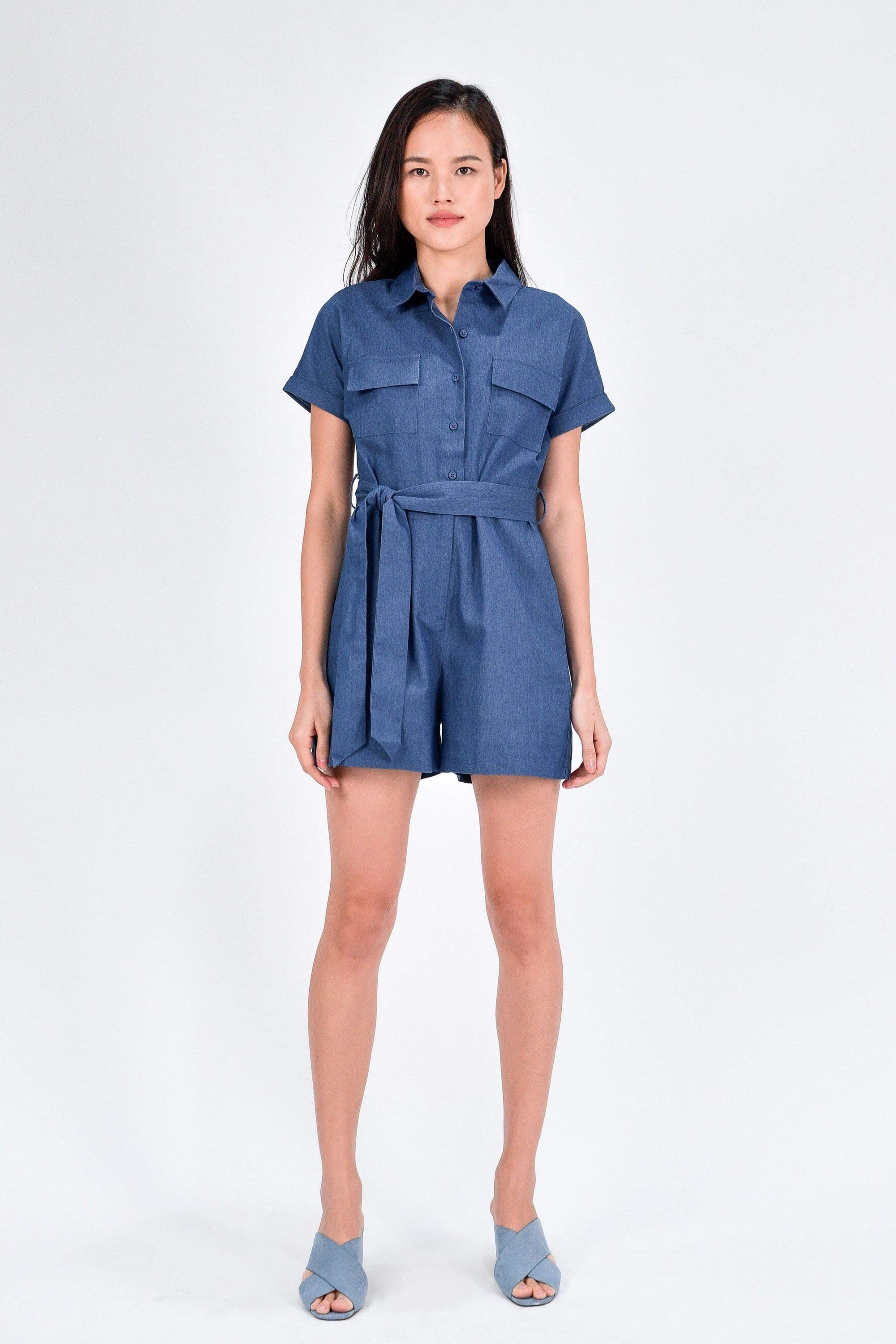 SKYA DENIM UTILITY ROMPER IN MID WASH