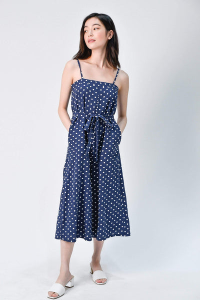 AWE One Piece TWEEDY NAVY POLKA DOT CULOTTES ROMPER