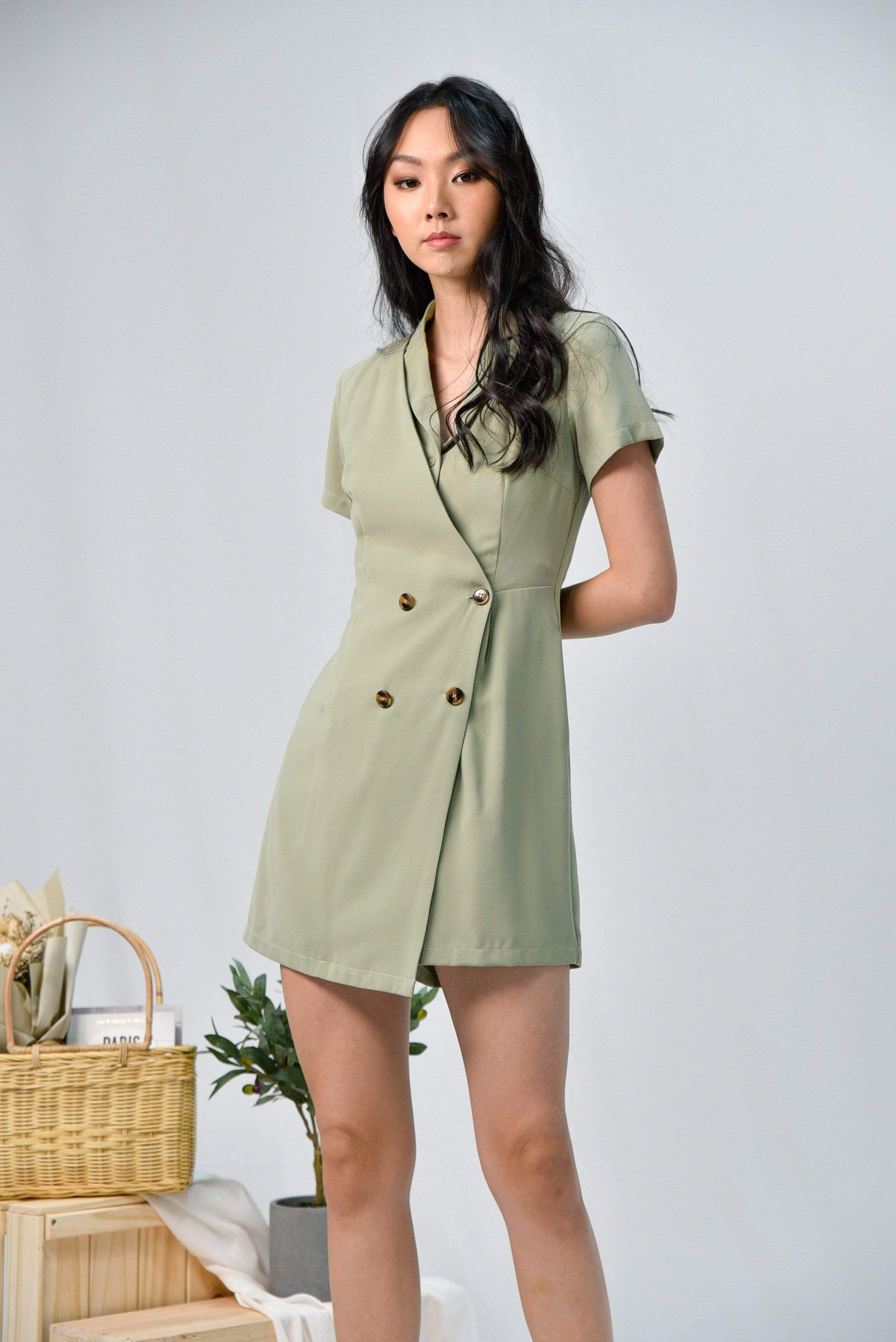 VANESSA SAGE DOUBLE-BREASTED ROMPER