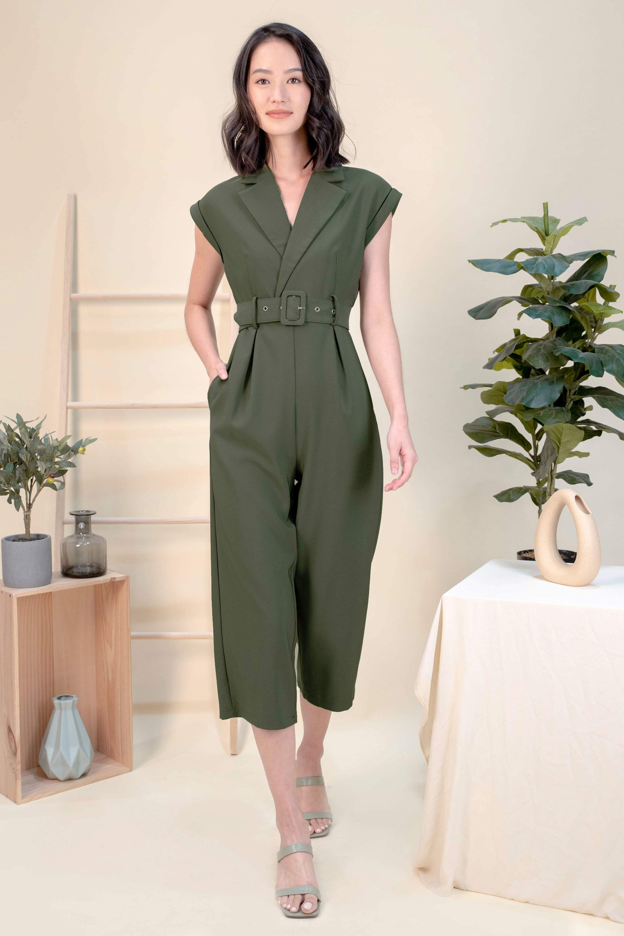 AWE One Piece VICKY TUXEDO JUMPSUIT IN OLIVE