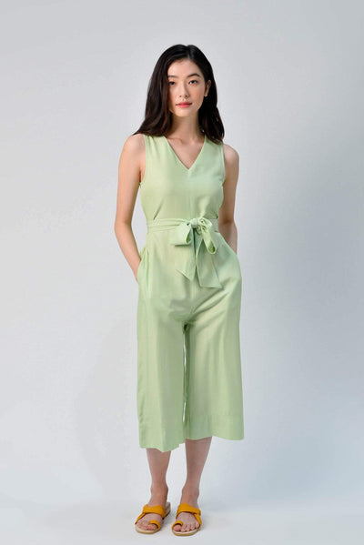 AWE One Piece YEJIN TIE-SASH ROMPER IN APPLE GREEN