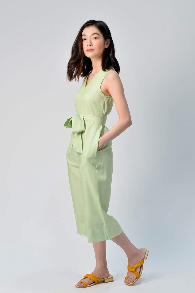 YEJIN TIE-SASH ROMPER IN APPLE GREEN