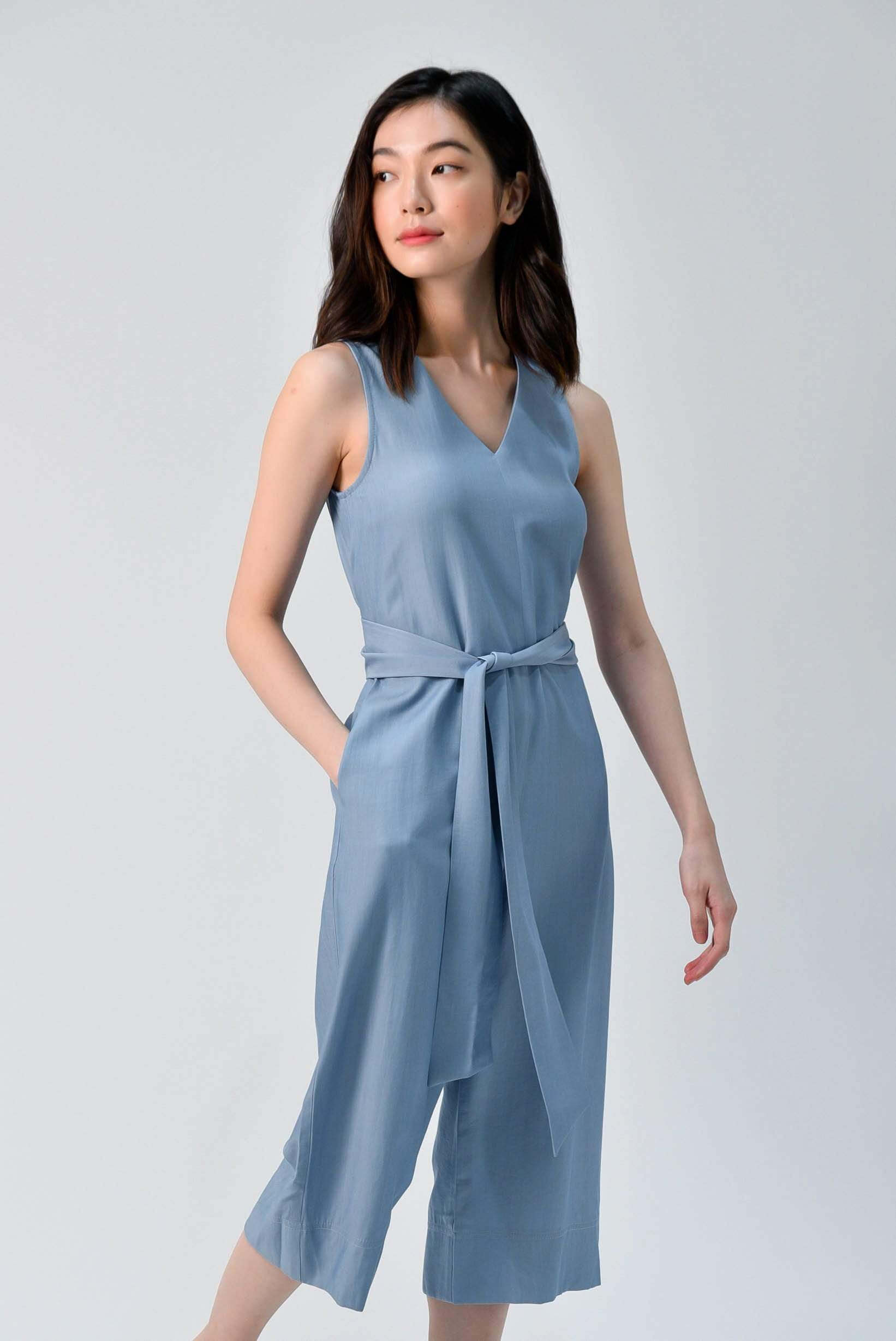 AWE One Piece YEJIN TIE-SASH ROMPER IN BLUE