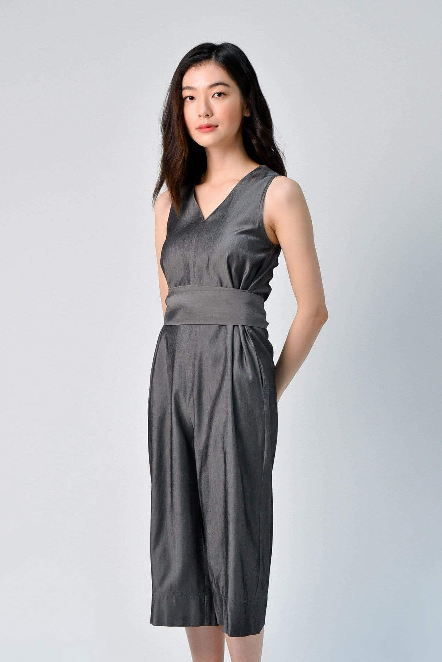 AWE One Piece YEJIN TIE-SASH ROMPER IN GUN METAL