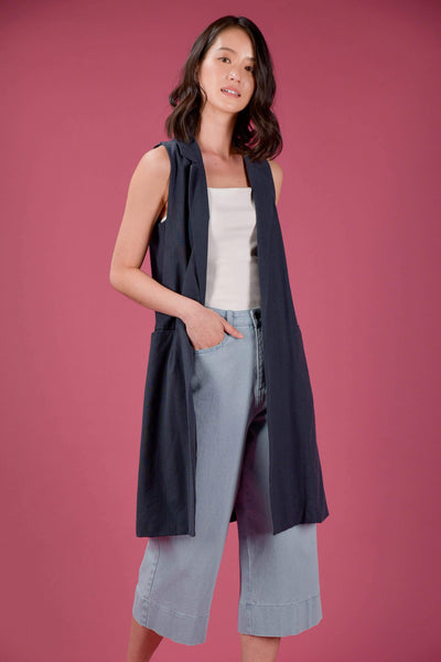 AWE Outerwear BEATRICE LONGLINE VEST IN NAVY