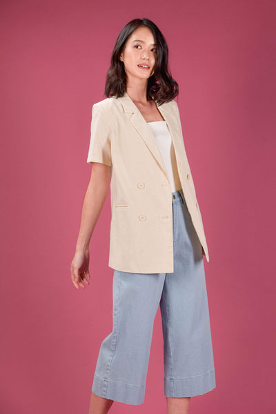 AWE Outerwear CHRISELLE LINEN DOUBLE-BREASTED VEST IN ECRU