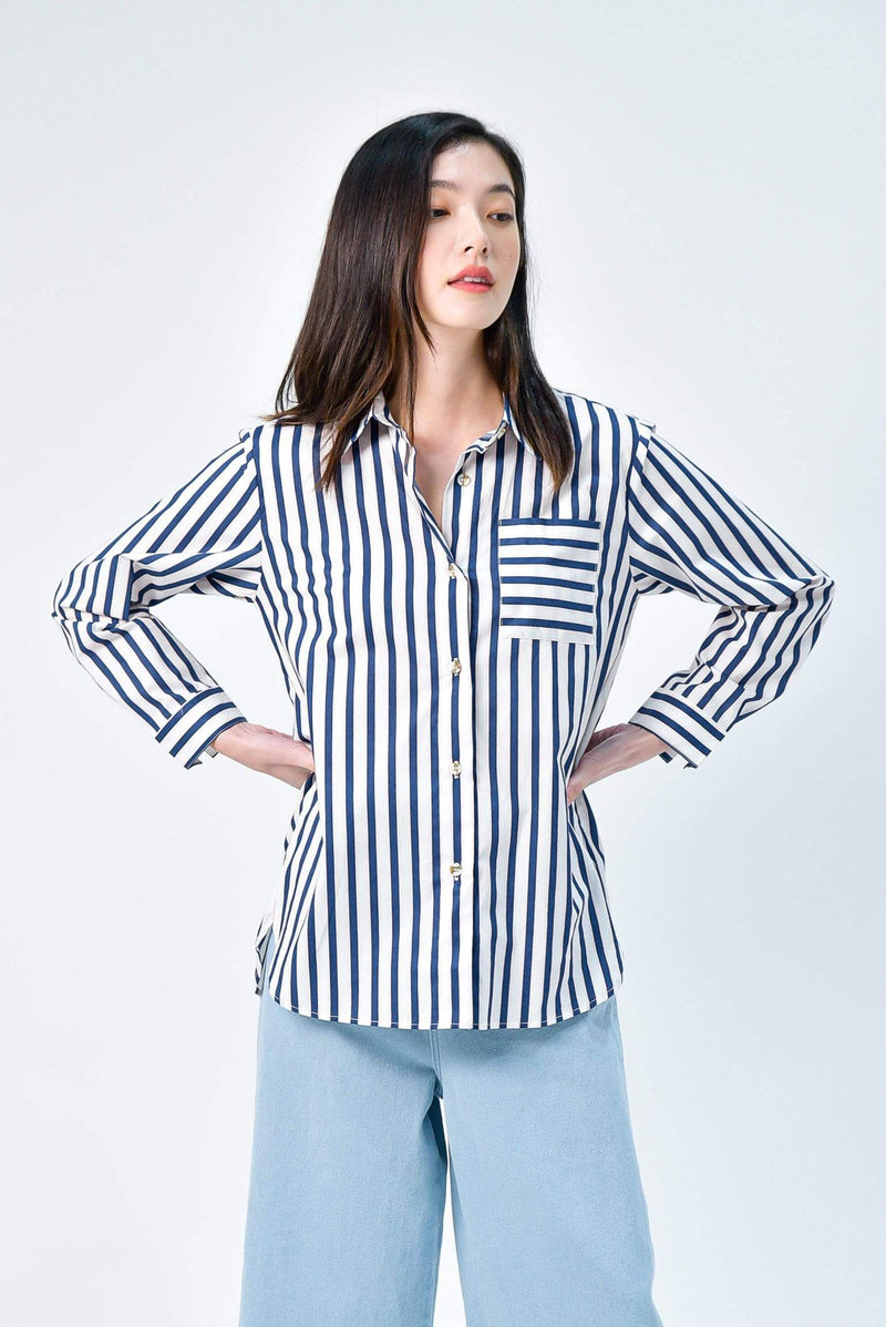 EUNJI WHITE COTTON STRIPE SHIRT