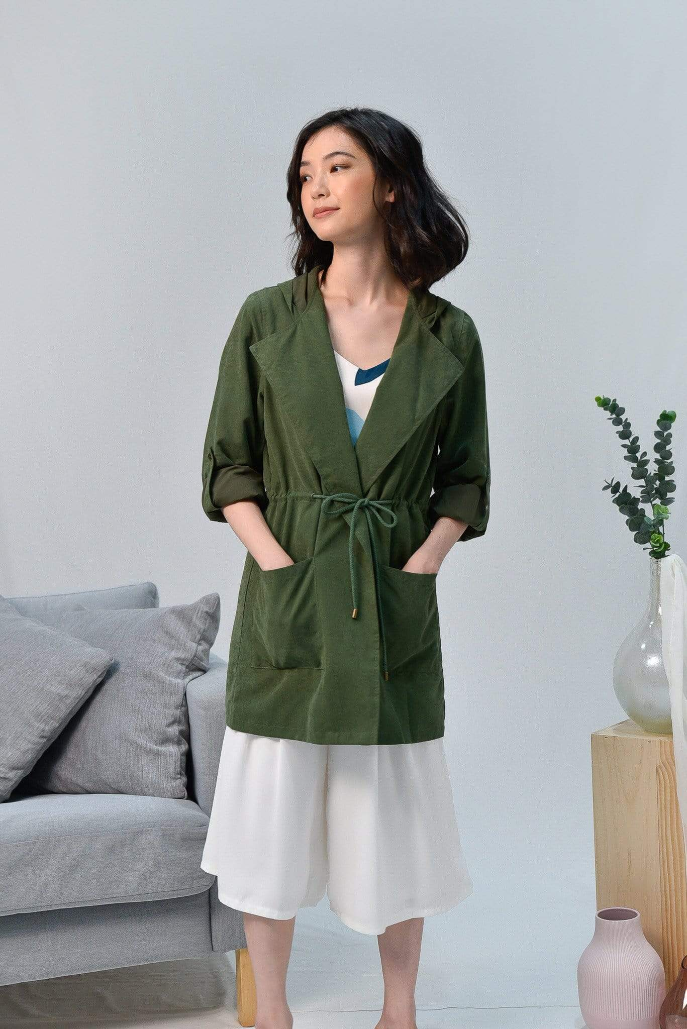 EVERLY ARMY GREEN DRAWSTRING PARKA