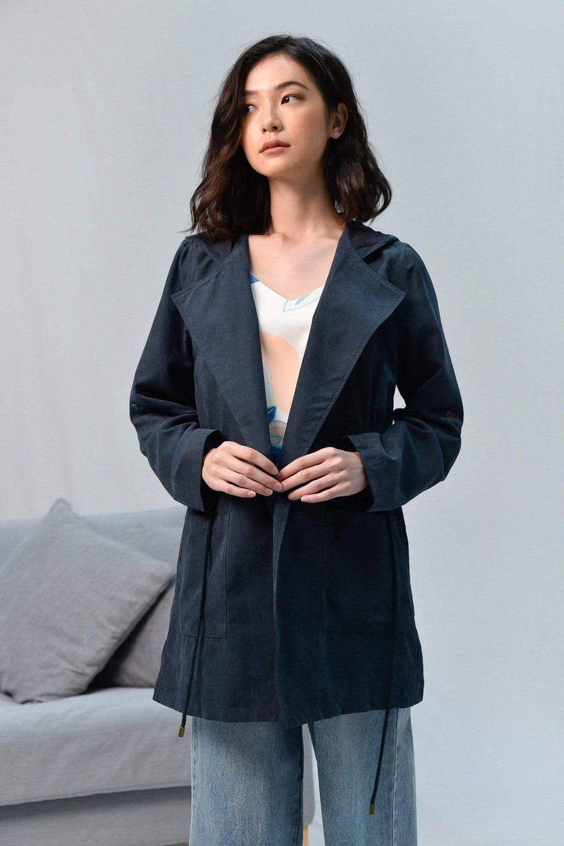 EVERLY NAVY DRAWSTRING PARKA