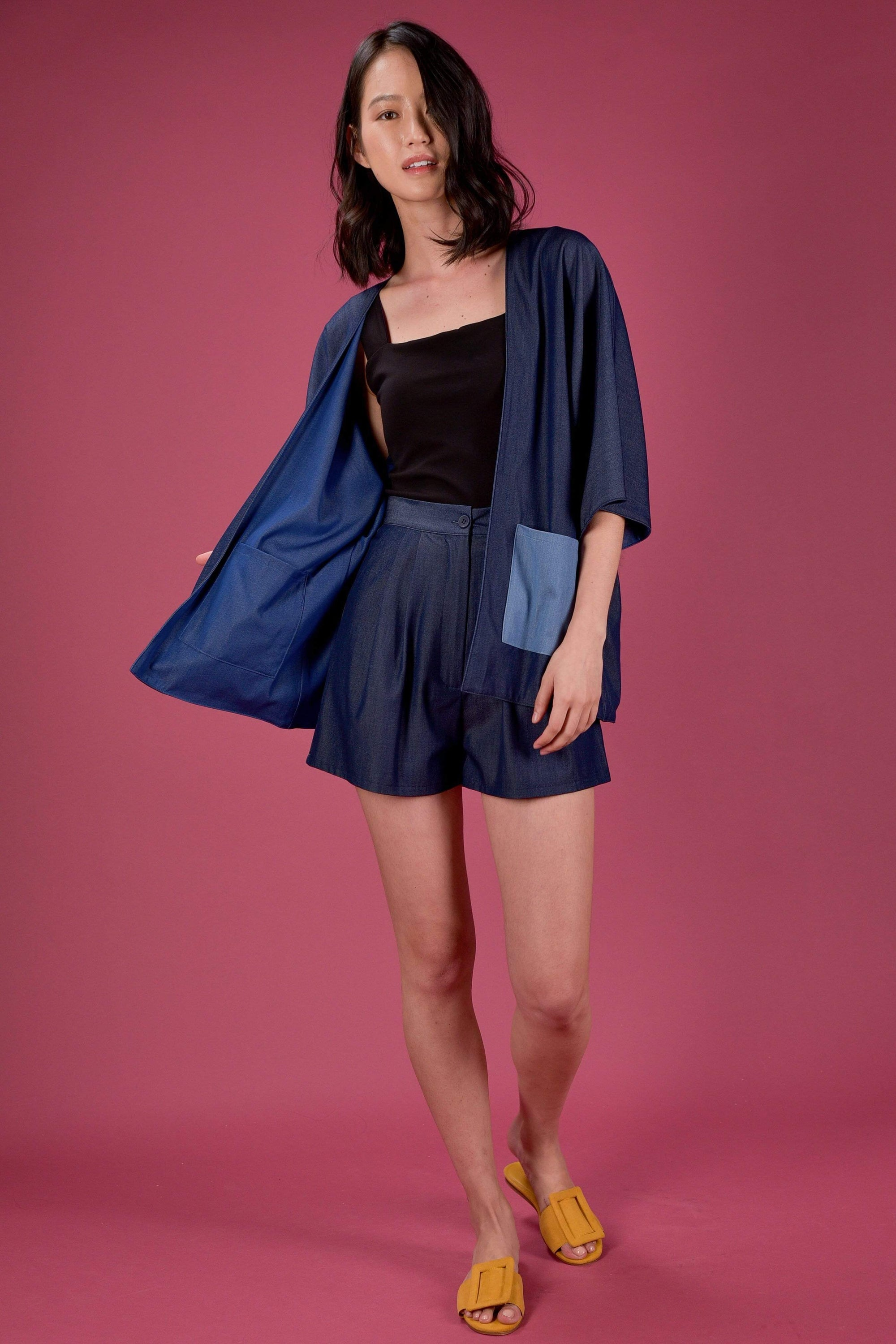 AWE Outerwear EVERYDAY REVERSIBLE KIMONO IN DARK DENIM