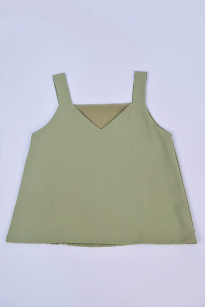 ALYA TWO-WAY THICK STRAP TOP IN MATCHA - All Would Envy