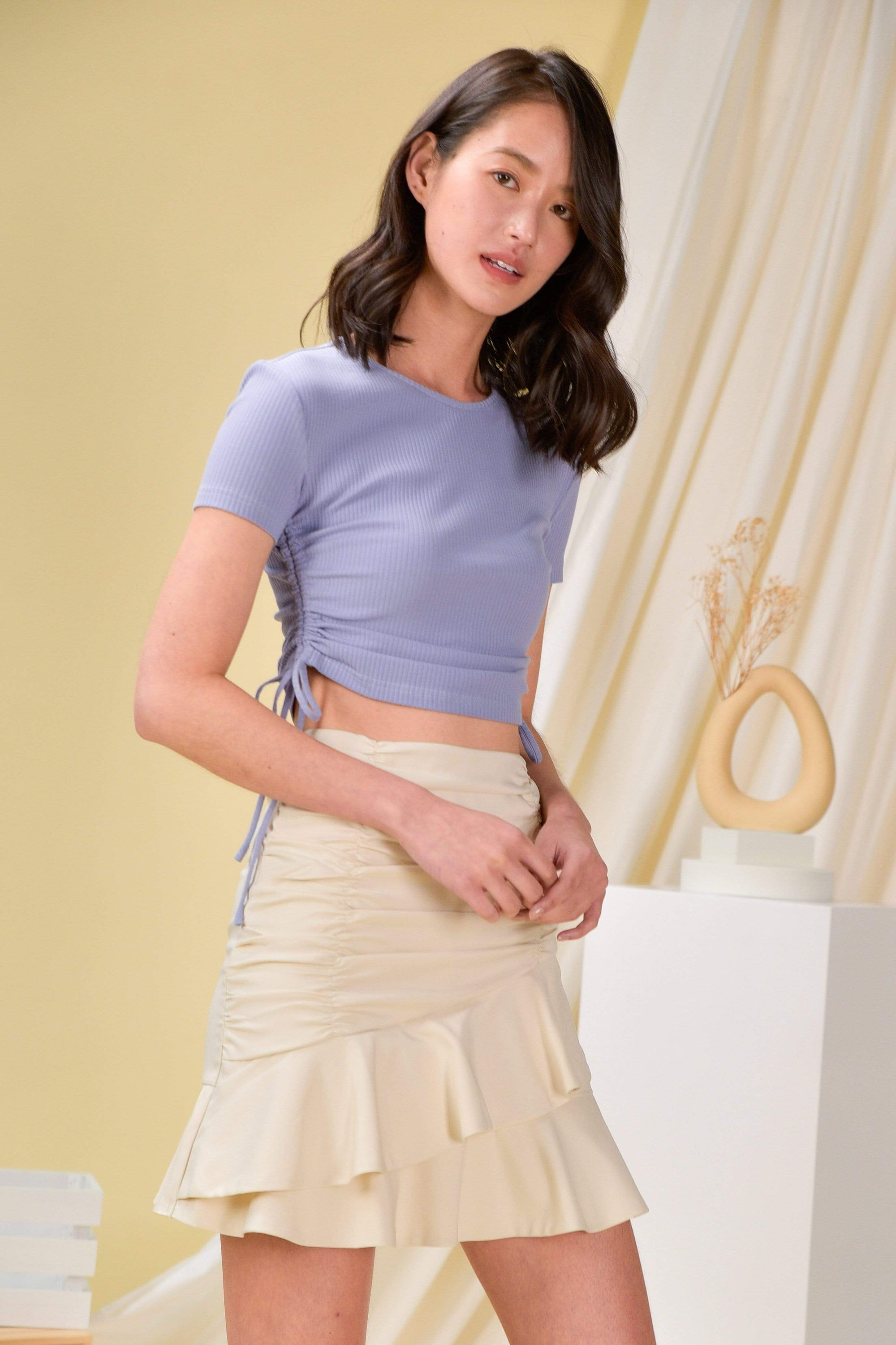 ANAYA RUCHED-SIDE TEE IN LAVENDER