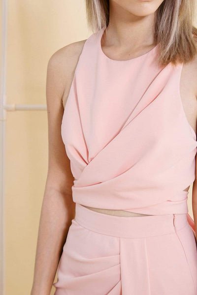 AWE Tops AUDREY PINK TIE TOP
