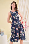 AWE Tops AURORA FLORAL TWO-WAY MIDI IN NAVY