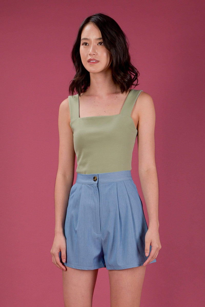 AWE Tops *BACKORDER* EVERYDAY REVERSIBLE TOP IN SAGE/BLUE (XS-M)