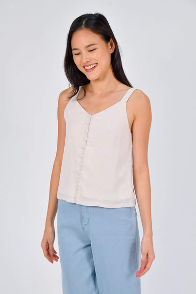 AWE Tops BROOKE BEIGE DAISY BUTTON TOP