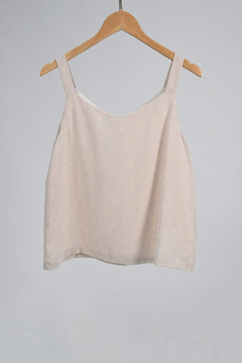 BROOKE BEIGE DAISY BUTTON TOP