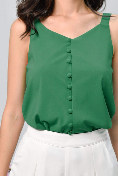 AWE Tops BROOKE KELLY GREEN BUTTON TOP