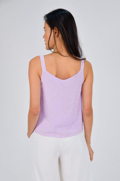 AWE Tops BROOKE LILAC DAISY BUTTON TOP
