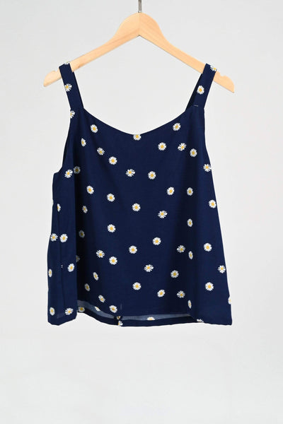 AWE Tops BROOKE NAVY DAISY BUTTON TOP
