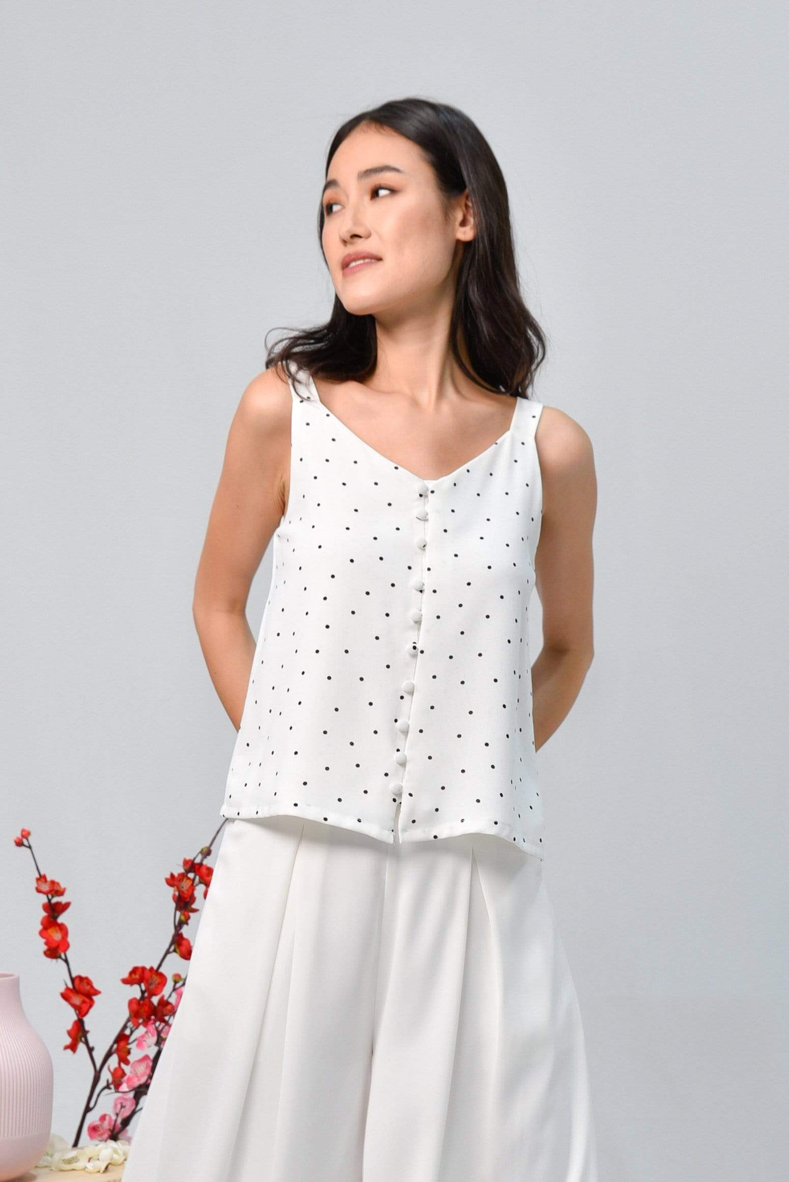 BROOKE WHITE POLKA DOT BUTTON TOP