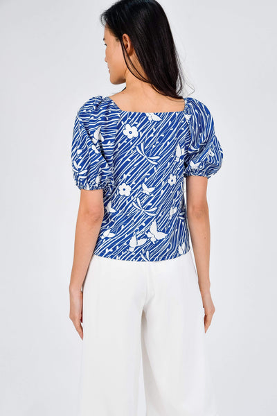 AWE Tops CAMELIA BLUE SLEEVED BUTTON TOP