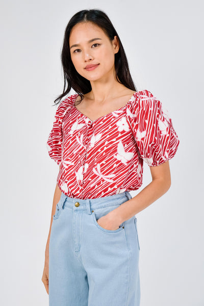 AWE Tops CAMELIA RED SLEEVED BUTTON TOP