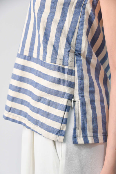 AWE Tops CHOHEE BLUE V-NECK STRIPE TOP