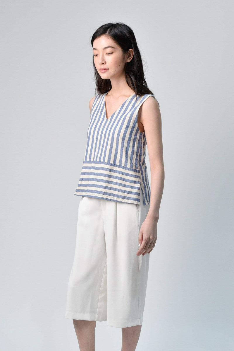 CHOHEE BLUE V-NECK STRIPE TOP