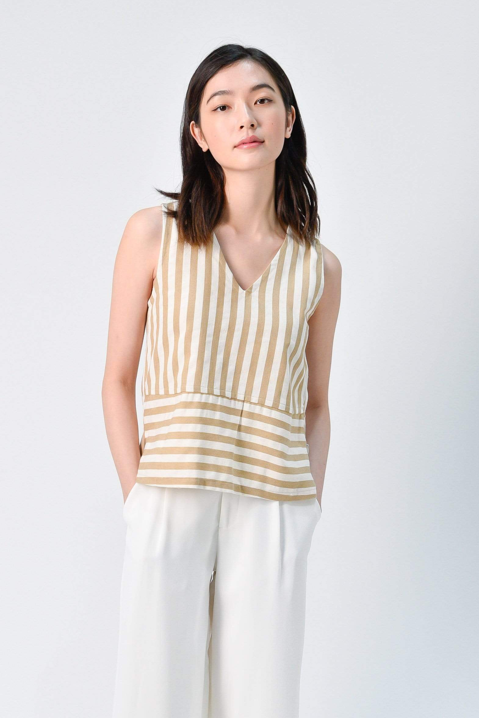 CHOHEE NUDE V-NECK STRIPE TOP