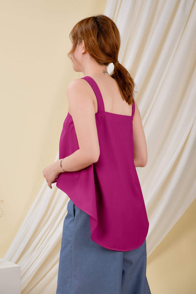 AWE Tops CLARA DIP-HEM TOP IN MAGENTA