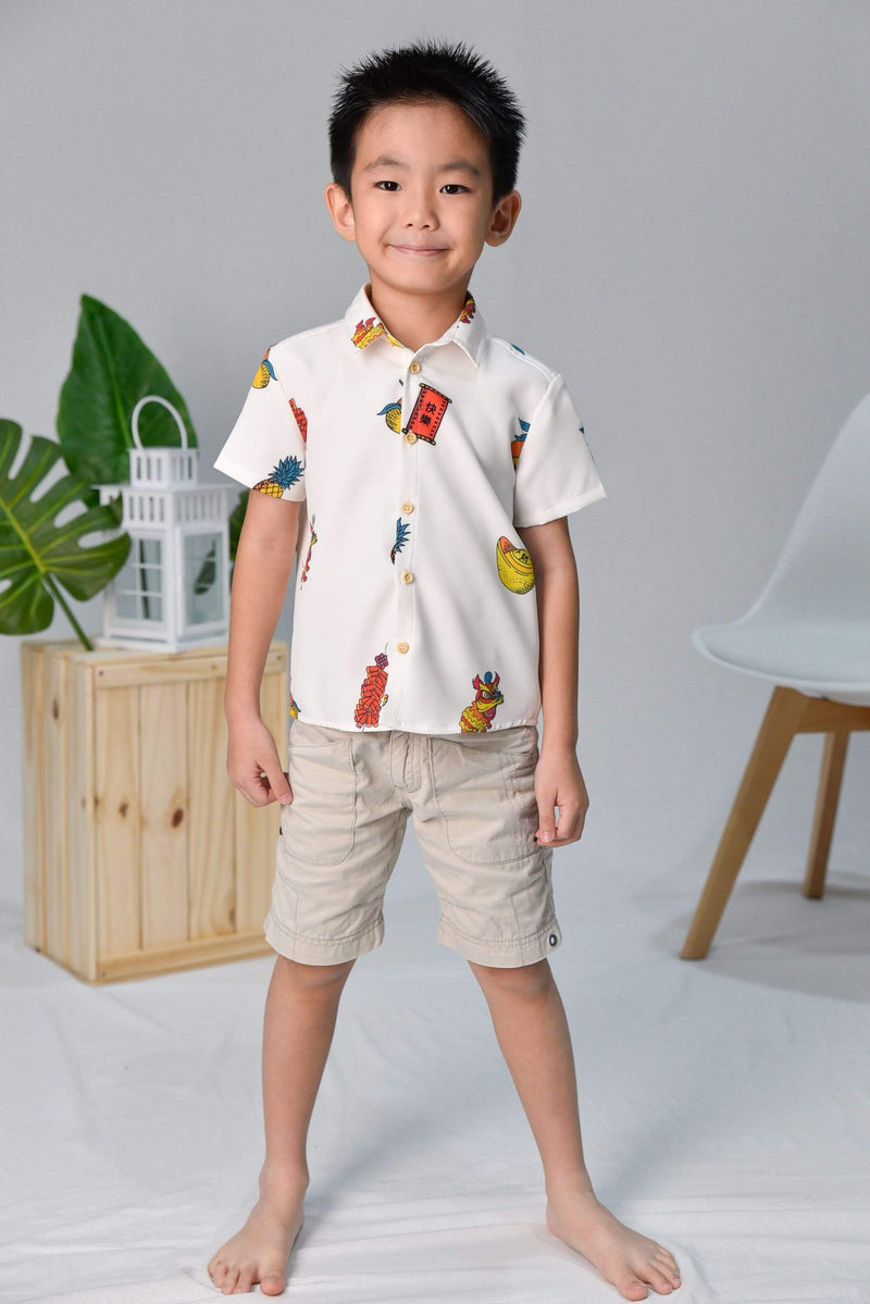 CNY KIDS SHIRT IN OFF-WHITE