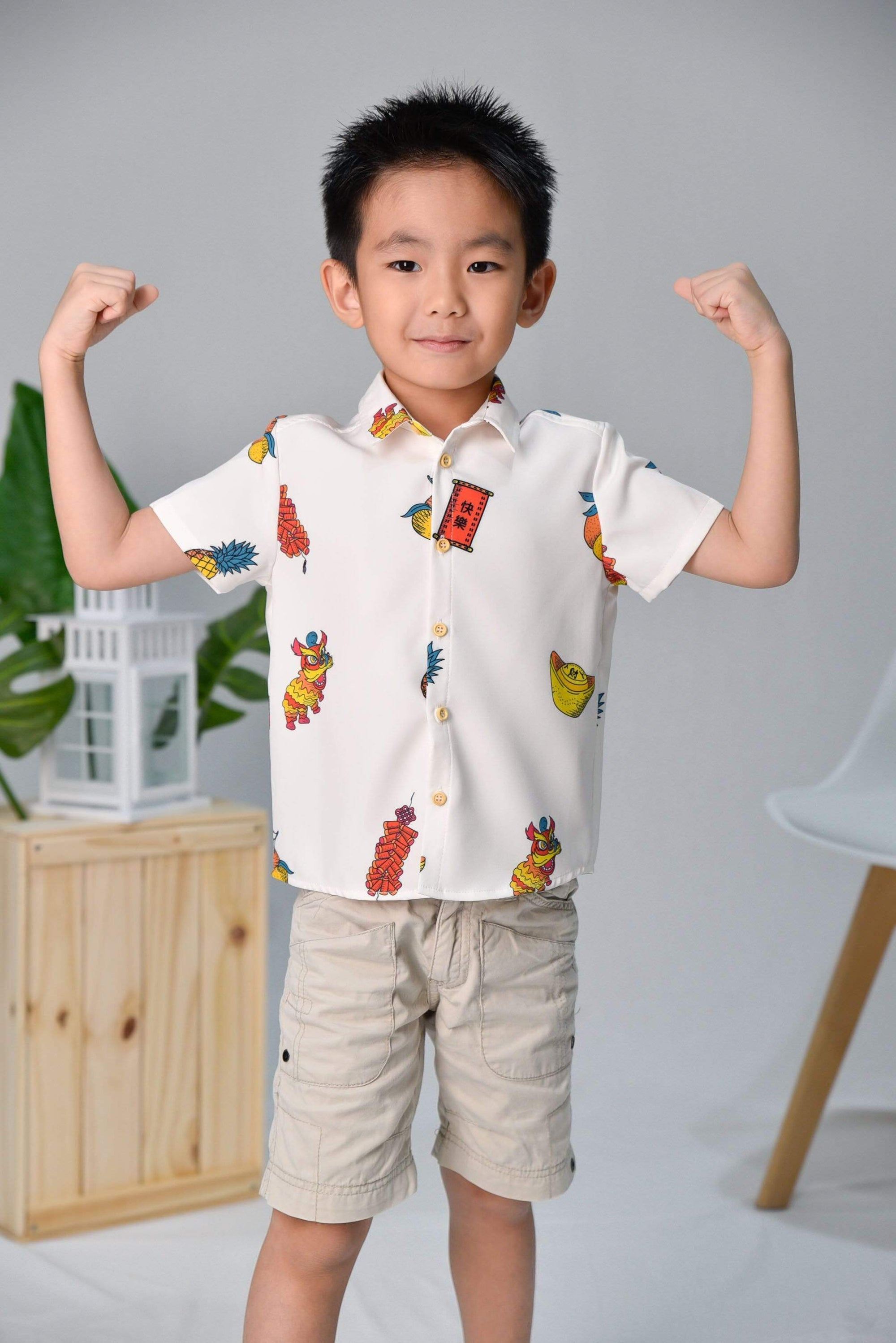 *BACKORDER* CNY KIDS SHIRT IN OFF-WHITE