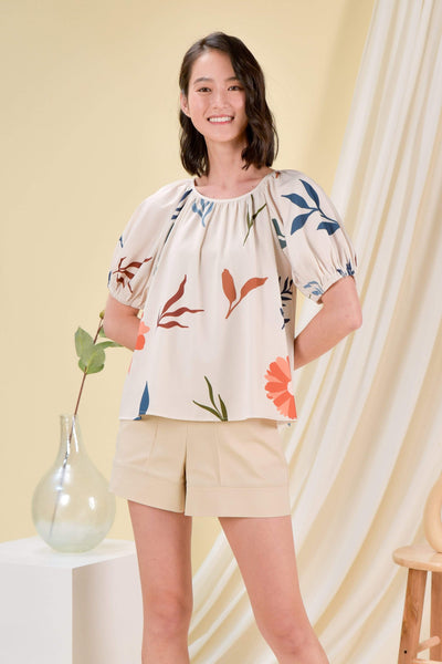 AWE Tops DAISY BLOOMS SLEEVED BLOUSE IN BEIGE