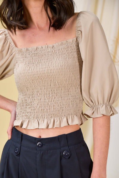 AWE Tops DELLA SMOCKED TOP IN OAT