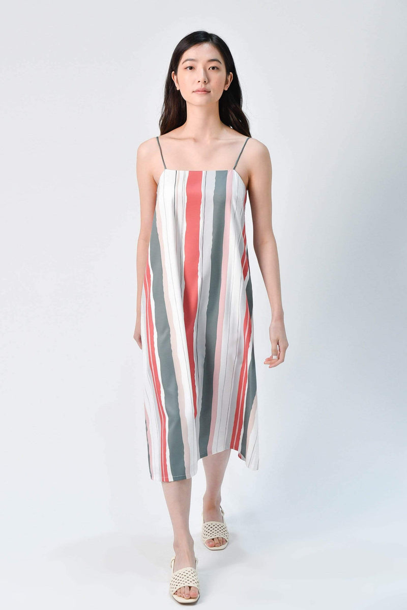 ELLA STRIPED TENT DRESS IN DUSTY GREEN