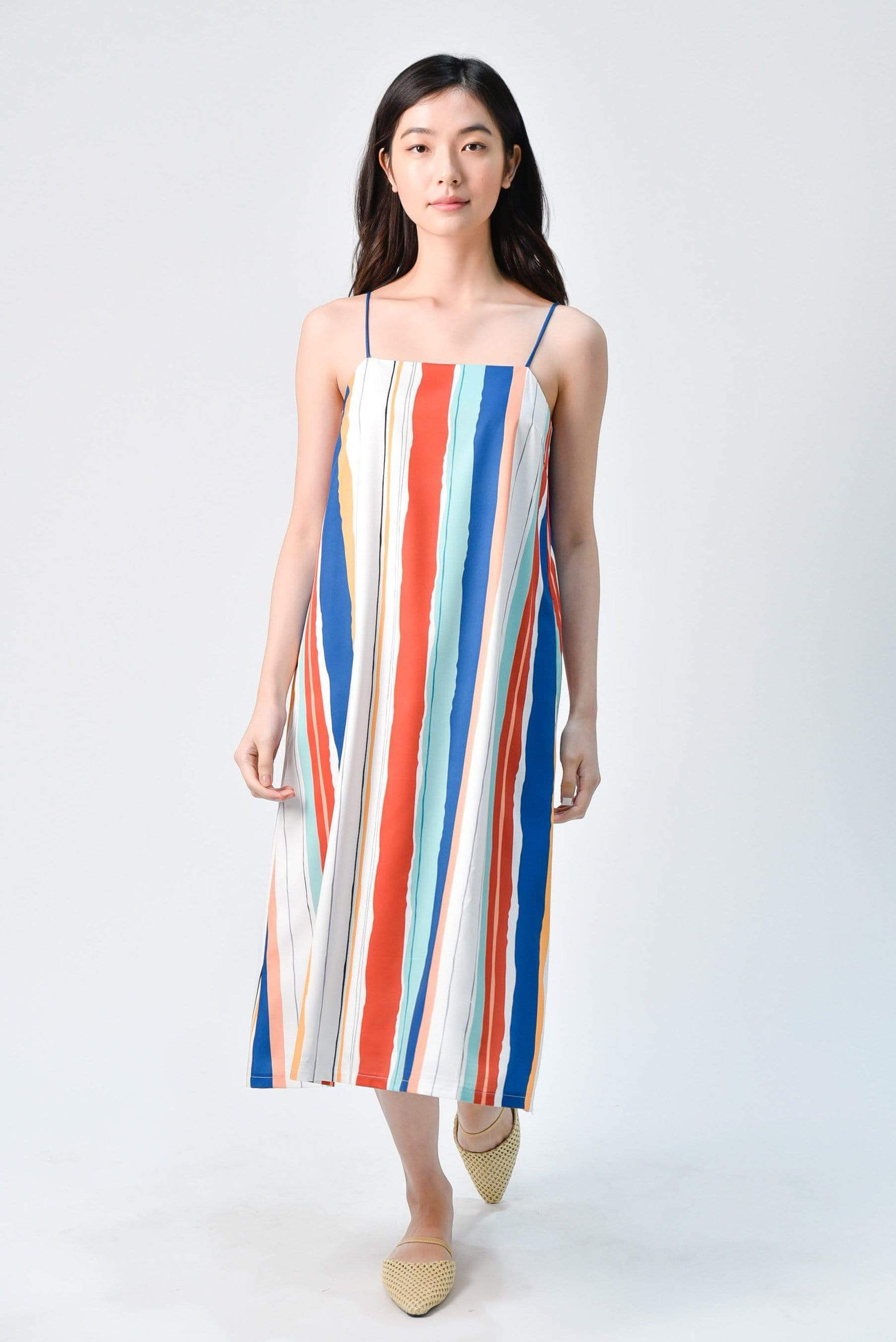 ELLA STRIPED TENT DRESS IN OCEAN BLUE