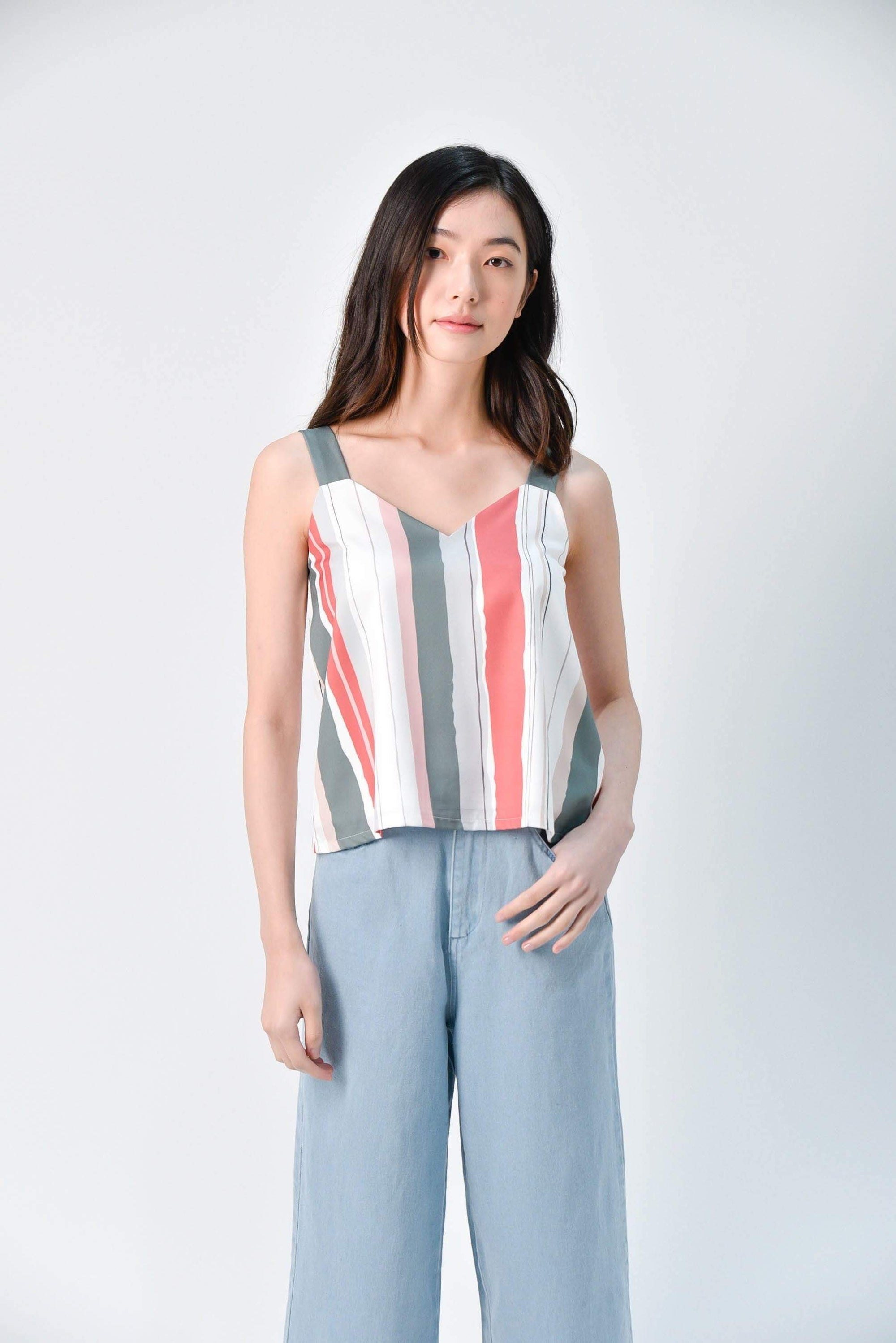 ELLA TWO-WAY STRIPED TOP IN DUSTY GREEN