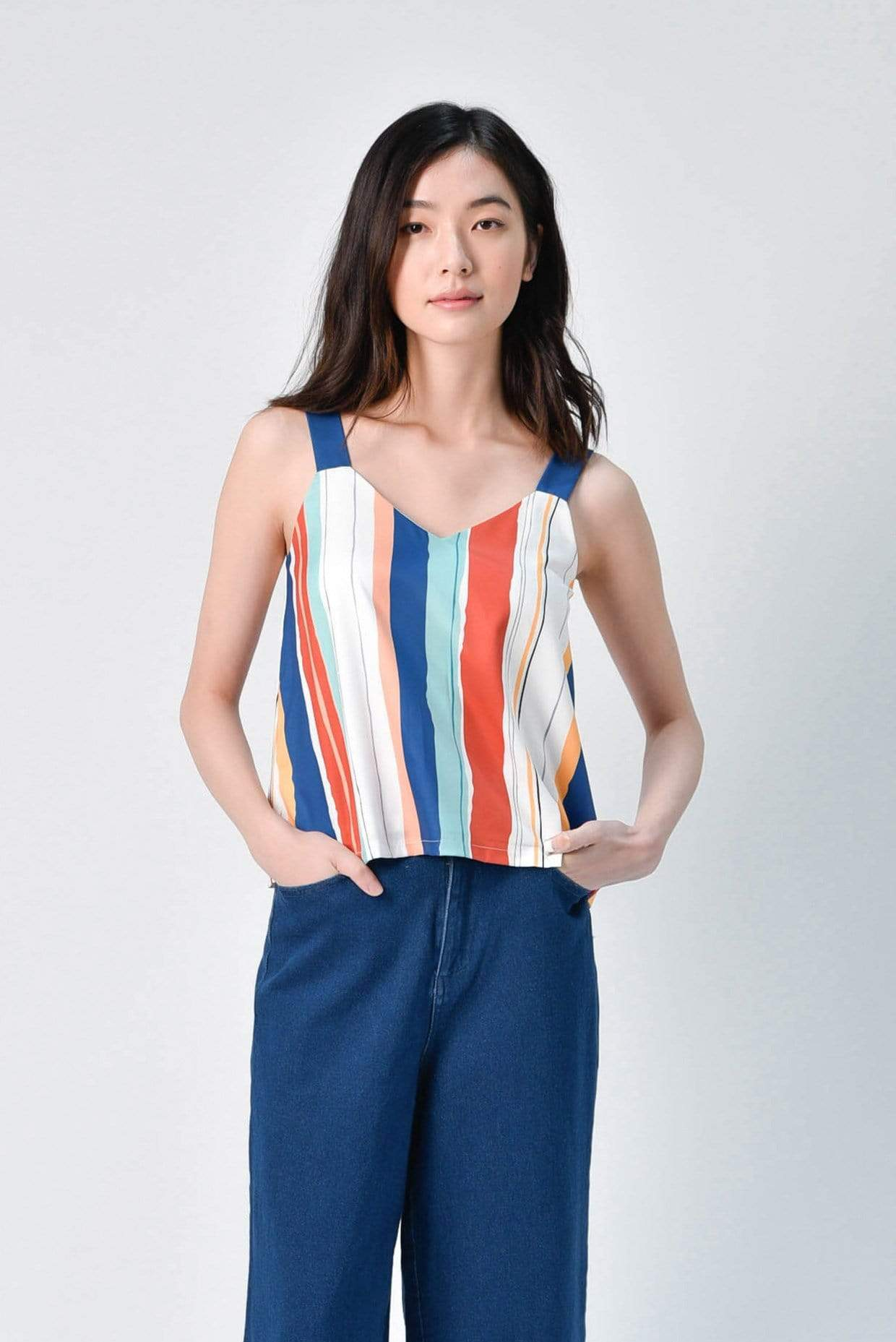 ELLA TWO-WAY STRIPED TOP IN OCEAN BLUE