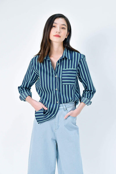 AWE Tops EUNJI NAVY COTTON STRIPE SHIRT