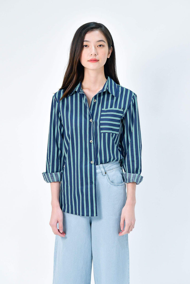 EUNJI NAVY COTTON STRIPE SHIRT