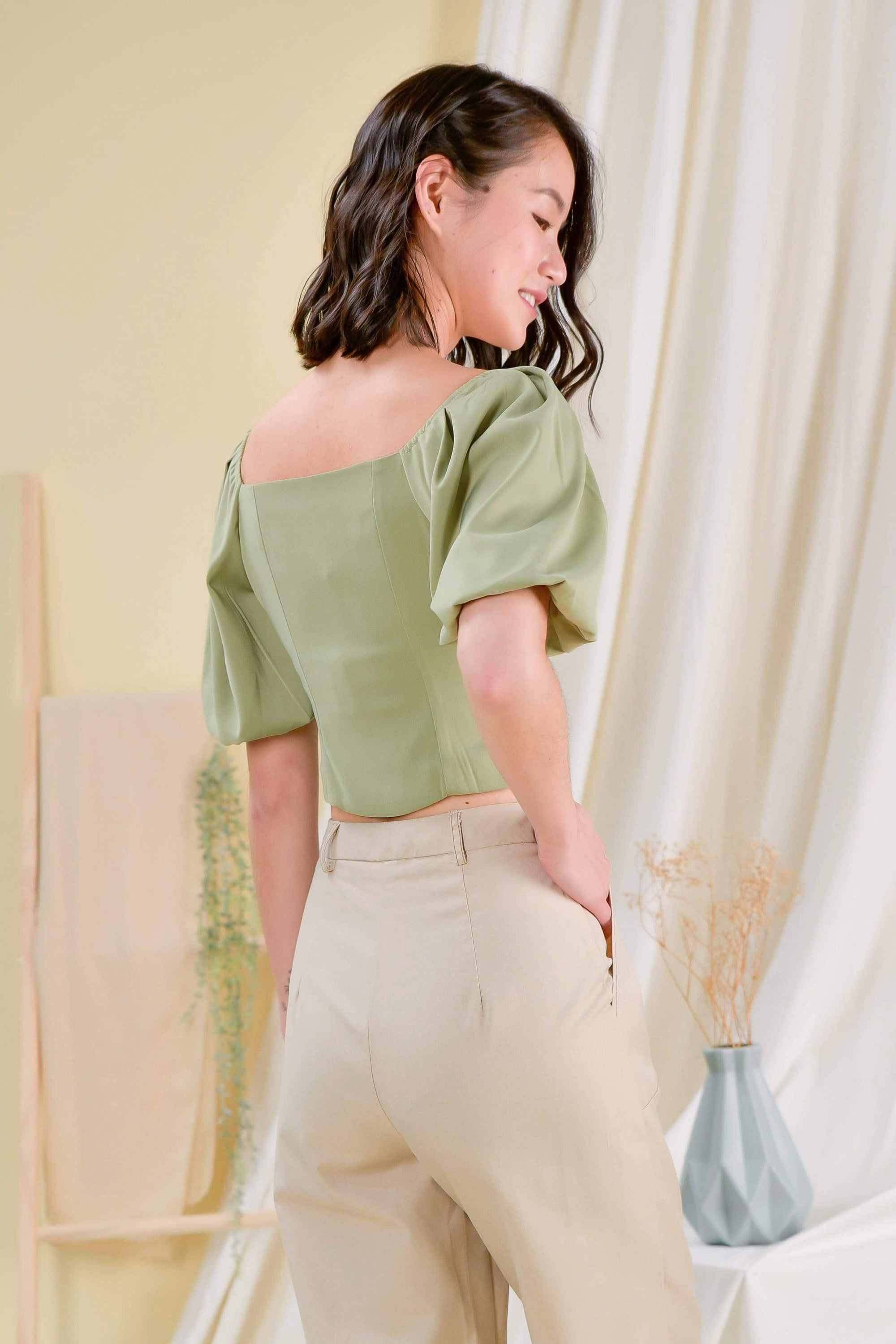 EVELYN PUFF-SLEEVE TOP IN SAGE