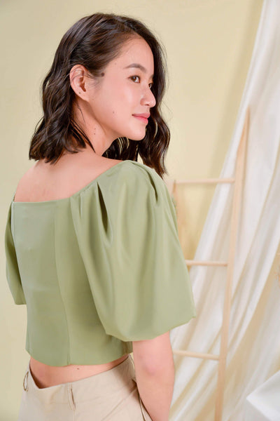 AWE Tops EVELYN PUFF-SLEEVE TOP IN SAGE