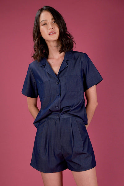 AWE Tops EVERYDAY CAMP COLLAR SHIRT IN DARK DENIM