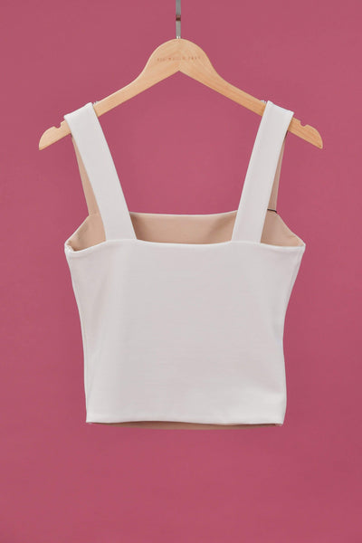 AWE Tops EVERYDAY REVERSIBLE TOP IN WHITE/NUDE